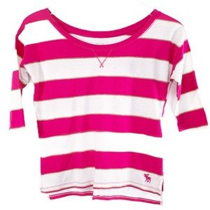 ABERCROMBIE KIDS | pink white striped top